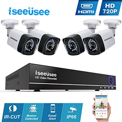 Iseeusee 4-Channel 1080N Video Security DVR Surveillance Camera Kit, 4x1500TVL 720P Indoor Outdoor Weatherproof Bullet Cameras 100 Feet Night Vision Support Smartphone Remote Access(NO HDD) by ISEEUSEE
