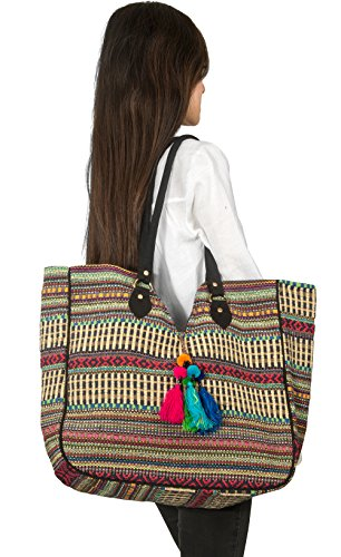 TribeAzure Large Women Shoulder Bag Tote Aztec Handbag Tassel School Everyday Beach Picnic Grocery Laptop Photo #4