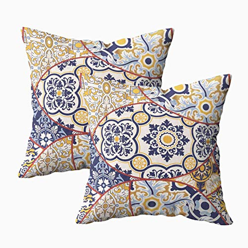 Musesh 18x18 Pillow Cases, Pack of 2 Tiles Abstract Pattern Fabric Texture Paper Print Wallpaper for ecc for Sofa Home Decorative Pillowcase Throw Pillow Covers