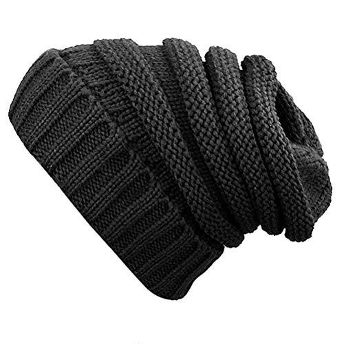 Women Beanie Hat Winter Knit Beanies Overiszed Slouchy Skull Cap Unisex Hats (Black Hat)