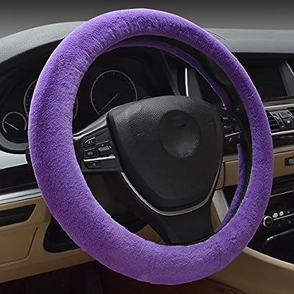 Viola Hivel Inverno Solido Colore Peluche Coprivolante Auto Morbido Caldo Peloso Antiscivolo Solid Color Tinta Unita Colore Veicolo Copri Volante Car Steering Wheel Cover 38cm