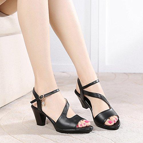 GTVERNH Verano 6 Cm De Tacon Alto Sandalias Tacones Gruesos Medio Tacón Mamá Los Peces Boca Middle Aged Women 'S Shoes. black