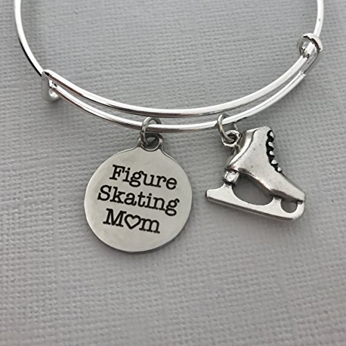 Figure Skating Mom Jewelry - Ice Skater gift for Mom - Charm bangle