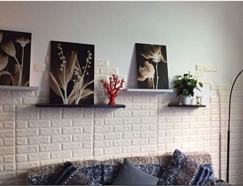 White 3D Self-Adhesive Wall Panels, 10 Pieces Brick Wall Sticker, Waterproof PE Foam 3D Wallpaper for Living Room, Background Wall and Office Decoration, 23.6'' x 23.6'' Inch. by Homewalldiy (Image #3)