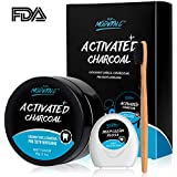 Teeth Whitening Powder Activated Charcoal Coconut -2.1oz(60g)-Teeth Whitening Kit-Bamboo Toothbrush and Teeth Floss Teeth Whitener – Tooth Powder-Oral Care Teeth Stain Removal (MINT)