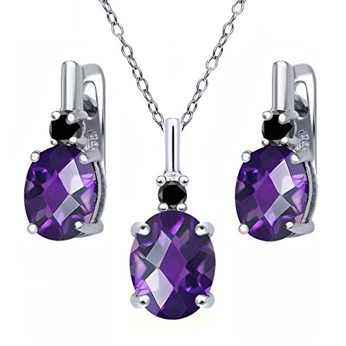 4.87 Ct Oval Checkerboard Purple Amethyst Black Diamond 925 Sterling Silver Pendant Earrings Set (Pendant Diamond Amethyst Jewelry)