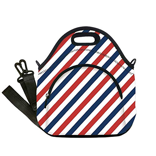 Insulated Lunch Bag,Neoprene Lunch Tote Bags,Harbour Stripe,Vintage Barber Pole Helix of Colored Stripes Medieval Contrast Design Decorative,Blue Red White,for Adults and children