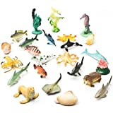 Fun Central AU194 1 to 2.25 inch Underwater Sea Animals,Deep Sea Creatures, Animal Figures, Sea Animal Toys, Rubber Sea Creatures, Bathtub Toys, Educational Toys for Kids-Assorted Styles, 90 Count