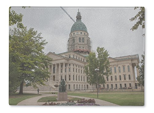 Gear New Glass Cutting Board and Serving Dish, Kansas State House And Capitol Building In Topeka Ks, also makes great accent decor piece, 11x8, - Glass Ks Topeka