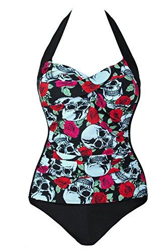 Leories Womens Retro Skull Monokinis One Piece Ruched Swimsuit XXXXL Red