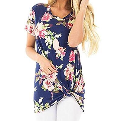 UOFOCO Sumemr T-Shirt Women Blouse Summer Tops Casual Floral Printing Knot Short Sleeve