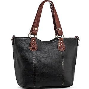 UTAKE Handbags for Women Top Handle Shoulder Bags PU Leather Tote Purse Medium Size Black