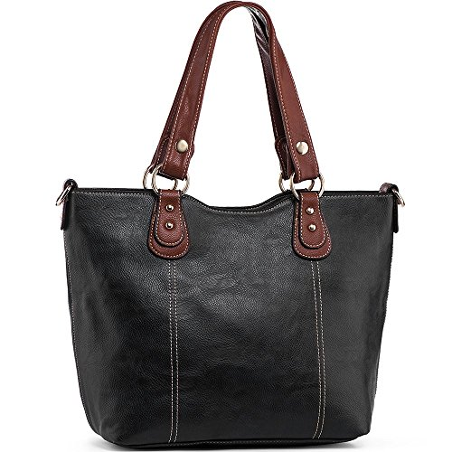 UTAKE Handbags for Women Top Handle Shoulder Bags PU Leather Tote Purse Medium Size Black