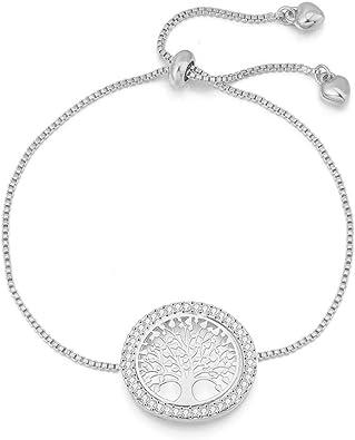 Femmes Argent//Or Réglable Chaîne Cristal Vie Arbre Charme Bracelet//Bangle Cadeau