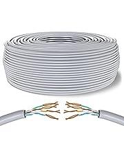 Mr. Tronic 100m Ethernet-Nätverkskabel | CAT6, AWG24, CCA, UTP (100 Meter, Grå)