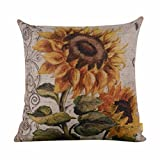 Leewos Pillow Cover, Floral Sunflower Square Pillow Case 18 X 18 Inches Vintage Home Decor