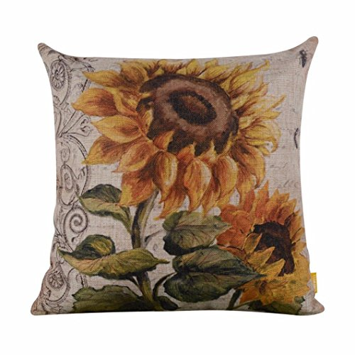 Leewos Pillow Cover, Floral Sunflower Square Pillow Case 18 X 18 Inches Vintage Home Decor -