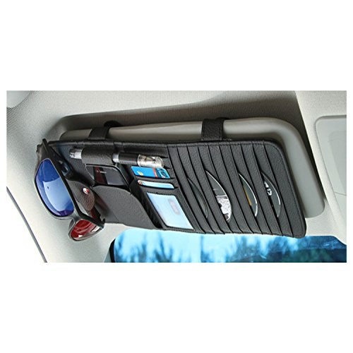 Gunuine Leather Auto Vehicle Sun Visor Organizer with 10 CD Slots + 4 Credit Card Pockets + 1 Glasses Holder + 1 Pen Holder + 1 Money Pocket