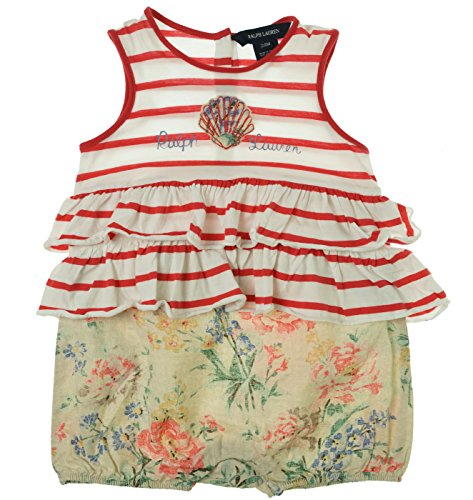 Ralph Lauren Baby Girl's Striped to Floral Bubble Shortall Romper Red Multi 24 Months