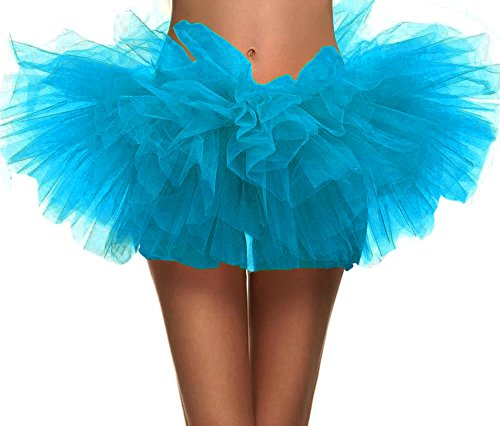 Simplicity Women's Classic 5 Layered Tulle Tutu Skirt Ballerina Dress, Sky -