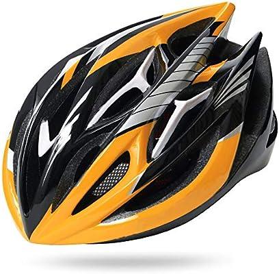 ILKJ Cascos Bici Carretera Hombre, Mujer Casco de Bicicleta de Montaña, Integral Casco de Ciclo con Forro Desmontables, Monopatín, Montaña, Negro y Amarillo, Ajustable (57-62 cm): Amazon.es: Deportes y aire libre