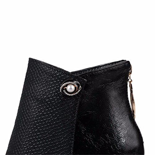 high women's and and Autumn heels short boots Black round small American and European winter head w4HwgaqY