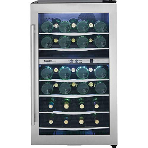 Danby DWC040A3 20 Inch Wide 38 Bottle Capacity Free Standing Wine Cooler with Du, Black/Stainless - Wine Danby