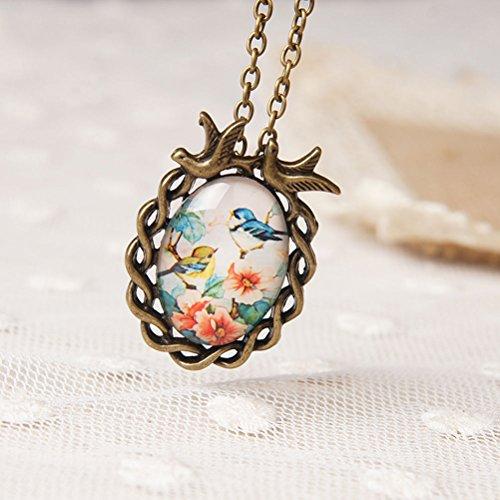 Vintage Glass Cabochons - Elegant4beauty Vintage Oval Flower Bird Cabochon Glass Pendant Necklace
