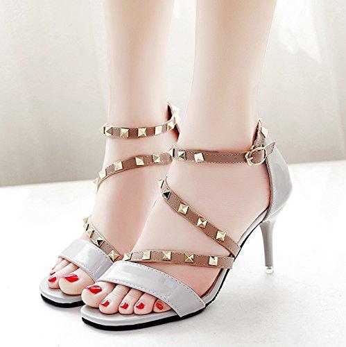 Moda Mujer verano sandalias confortables tacones altos,38 amarillo Grey
