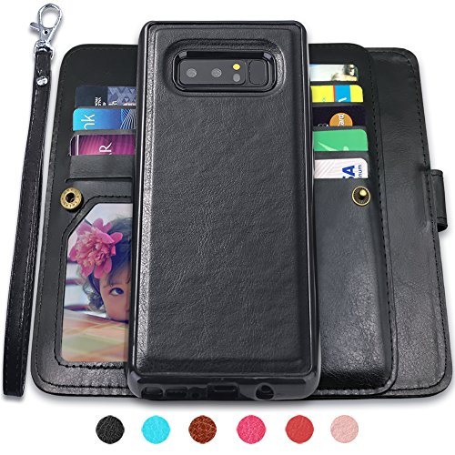 Galaxy Note 8 Case, Note 8 Wallet Case with Detachable Slim Case,9 Card Slots, Stand Feature, Removable Strap, CASEOWL Luxury PU Leather Magnetic Detachable Wallet Case for Galaxy Note 8(2017)-Black