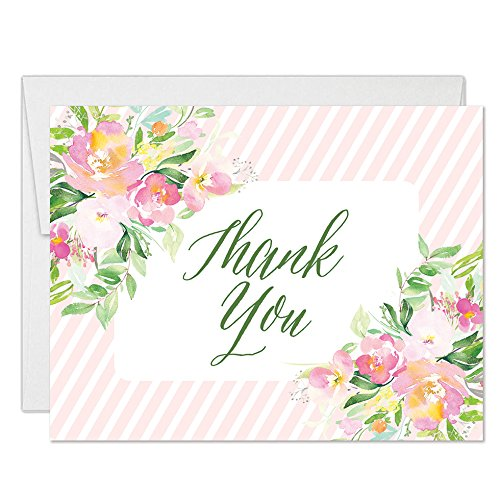 Delicate Floral Blooms Thank You Cards with Envelopes (Pack of 25) Folded Notecards Pink Stripe Border Thank You Baby Bridal Shower Birthday Anniversary Thanks for Gift Notes Excellent Value VT0087B