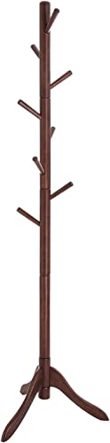 VASAGLE Coat Rack, Solid Wood Coat Stand, Free Standing Hall Coat Tree with 8 Hooks for Coats, Hats, Bags, Purses, for Entryway, Hallway, Rubberwood, Dark Walnut URCR01WN