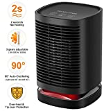 Comlife 950W PTC Ceramic Space Heater, Electric Mini Personal Heater Fan with Auto
