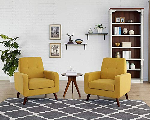 Funkeen Upholstered Accent Chair Modern Comfy Arm Chair Set of 2 Linen Fabric Single Sofa Chair Living Room Furniture Mustard Yellow