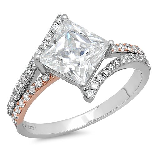 2.45 ct Princess Cut Criss Cross Split Shank Solitaire Accent Top Quality Moissanite Ideal VVS1 D & Diamond Simulant Engagement Promise Statement Anniversary Bridal Wedding Ring 14k 2tone Gold SZ 9.75