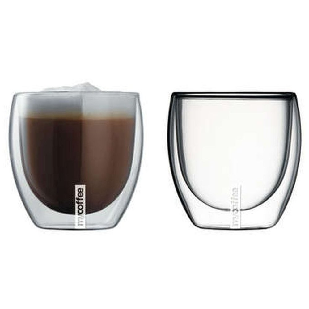 Glass espresso coffee cups uk - My Coffee Double Walled Glass Cappuccino Espresso Macchiato Insulated Cups 230ml 4 Glasses Amazon Co Uk Kitchen Home