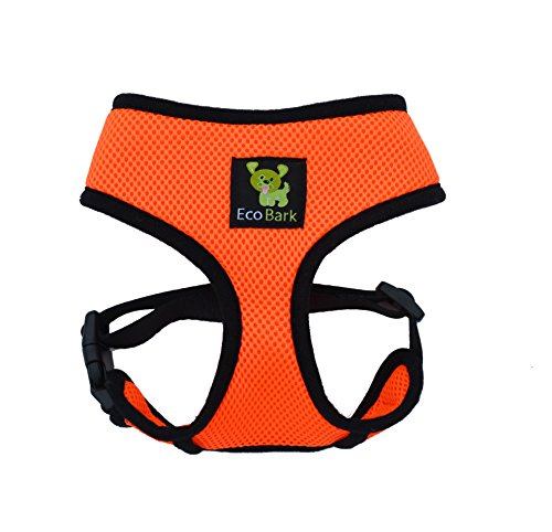 The Original EcoBark Maximum Comfort & Control Dog Harness 6-10 lbs; No Pull & No Choke Design, Luxurious Padded Vest, Eco-Friendly, For Puppies and Dogs (Small, Orange)