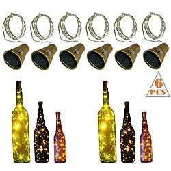 10 LED Bulbs Cork Lights Solar Powered (6 pcs) - 39 Inch Long String Wine Bottle Cork Fairy Lights for Bottle DIY, Table Decorations, Christmas, Wedding, Dancing, Halloween, Party, Festival Decor
