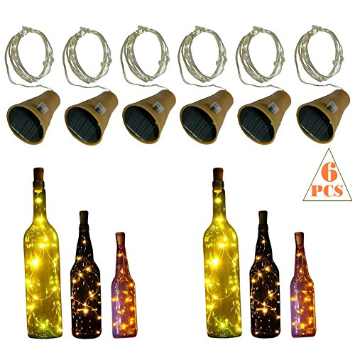 10 LED Bulbs Cork Lights Solar Powered (6 pcs) - 39 Inch Long String Wine Bottle Cork Fairy Lights for Bottle DIY, Table Decorations, Christmas, Wedding, Dancing, Halloween, Party, Festival (Diy Halloween Decorations For Work)