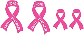 Breast Cancer Awareness Pink Ribbon Sticker Decal Set - 4 pcs (2 x 5.5