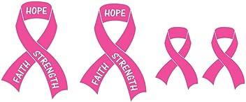 Breast Cancer Awareness Pink Ribbon Sticker Decal Set - 4 pcs (2 x 5.5