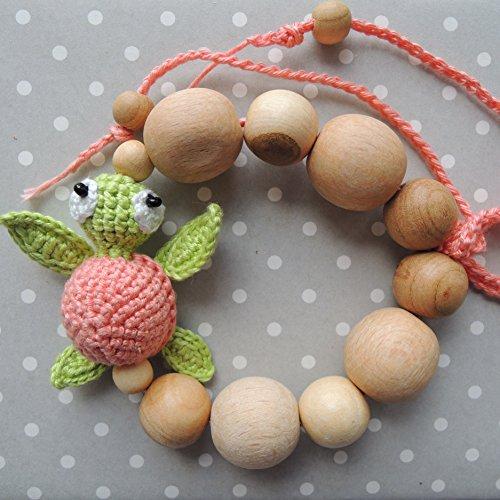 Teething bracelet Turtle, Baby rattle, Wooden Beads, Cotton (Forest School Halloween Activities)