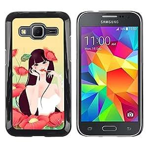 Be Good Phone Accessory // Dura Cáscara cubierta Protectora Caso Carcasa Funda de Protección para Samsung Galaxy Core Prime SM-G360 // Girl In Flowers