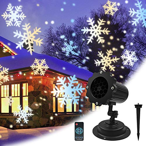 - LED Christmas Lights, Snow Dots & Snowflake Holiday Light, Waterproof Decorative Projector Lights for Home Room Yard Garden Wall Ceiling Outdoor Indoor Halloween Xmas Thanksgiving Party Kids