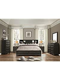 Exceptional Roundhill Furniture Loiret 236 Antique Grey Bed.