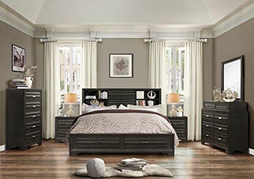Roundhill Furniture Loiret 236 Antique Grey Bed Room Set/King Storage Bed/Dresser/Mirror/2 Night Stands/Chest (Furniture Set King Bedroom)