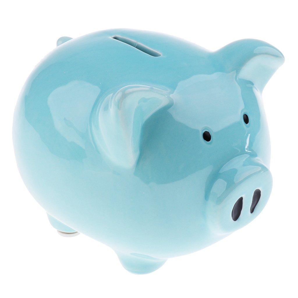 Homyl Piggy Bank Money Box Pig Shaped Piggy Coin Bank Money Saving Box For Kids - Medium-Blue, as described