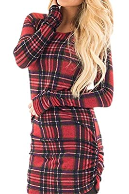 For G and PL Women Plaid Ruched Longsleeve Tunic Dress