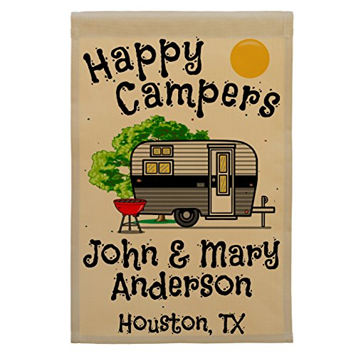 Happy Campers, Retro Camp Trailer Campsite Flag, Custom Camping Sign, Personalized Your Way (Black/Gray)