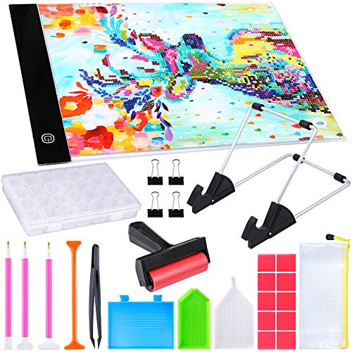 PP OPOUNT 27 Pieces Diamond Painting Tool Including A4 LED Light Pad, Diamond Stitch Pen, Plastic Tray, Diamond Painting Roller, Stand Holder and Diamond Embroidery Box for Diamond Painting